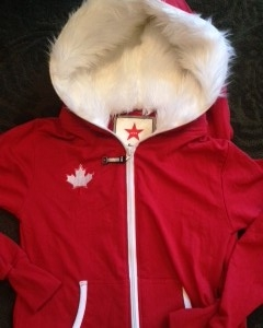 kids fur lined onesies red with maple leaf